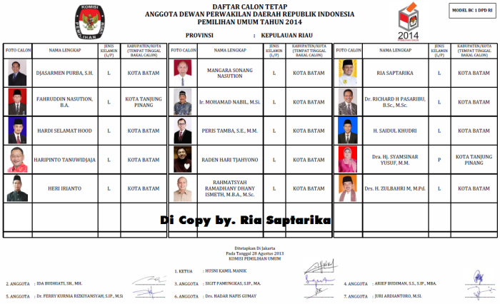 Formad DCT, DPD RI Kepri 2014