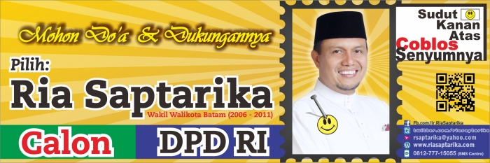 Disain Spanduk/Banner Ria Saptarika, Calon DPD RI, ukuran 300x100