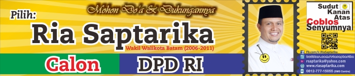 Disain Spanduk/Banner Ria Saptarika, Calon DPD RI, ukuran 700x150