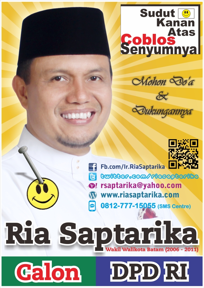 Disain Billboard, Baliho, Sticker Ria Saptarika, Calon DPD RI