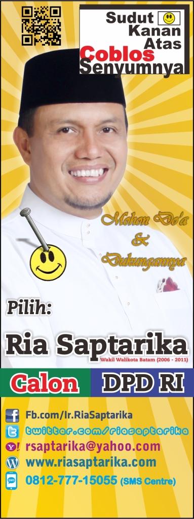 Disain Spanduk/Banner Ria Saptarika, Calon DPD RI, ukuran 75x200
