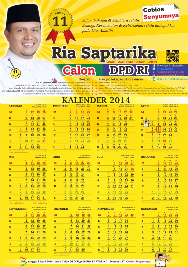 Kalender 2014 RiaSaptarika Calon DPD RI, KEPRI No.11
