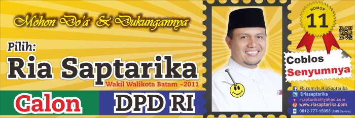 Banner & Spanduk Ria Saptarika calon DPD RI, No.Urut.11. 300x100