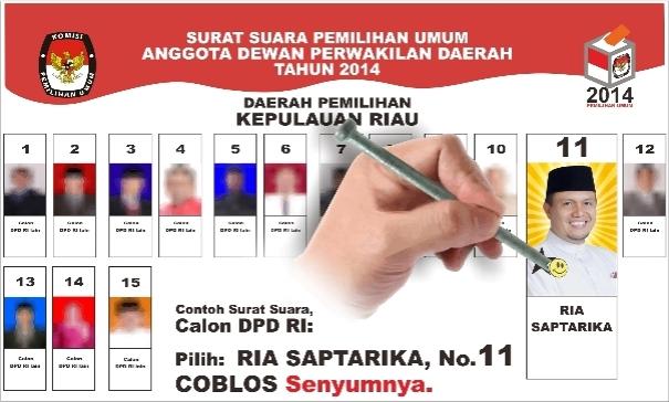Jargon: Untuk DPD RI Kepri 2014, Pilih Ria Saptarika (No.11) Coblos Senyumnya.