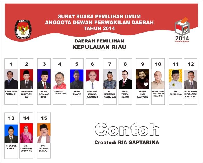 Contoh Surat Suara Calon Dewan Perwakilan Daerah Republik Indonesia (DPD RI) Provinsi Kepulauan Riau, sesuai dengan aslinya ukuran & skala 52cm x 42cm